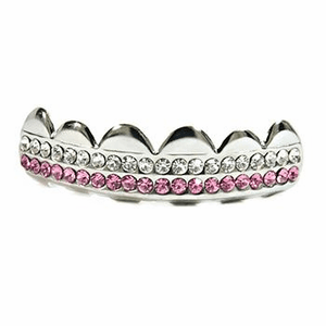 Silver 2 Row Pink Top Grillz