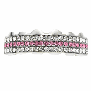 Silver 3-Row Pink Top Grillz