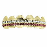 Gold 2 Row Pink Bling Top Grillz