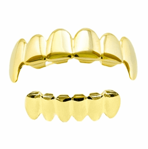Gold Vampire Fang Plain Grillz Set
