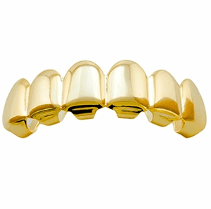14K Gold Plated Plain Top Grillz