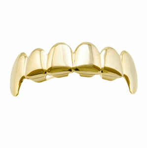 Gold Plain Top Teeth Fang Grillz