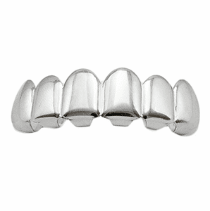 Silver Plain Top Teeth Grillz