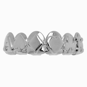 Silver Poker 3D Top Teeth Grillz