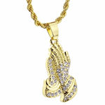 Pray Hands Gold Rope Chain 24""