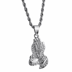 Pray Hands Silver Rope Chain 24""