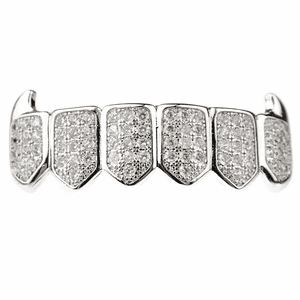 Premium Silver CZ Bottom Fang Grillz
