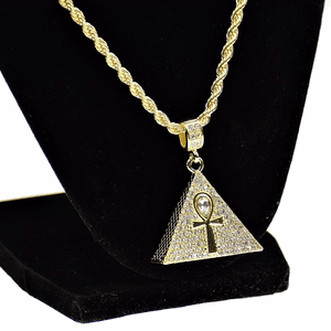"Ankh Pyramid 24"" Gold Rope Chain"