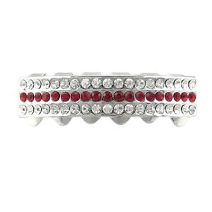 Silver 3 Row Red Bling Bottom Grillz