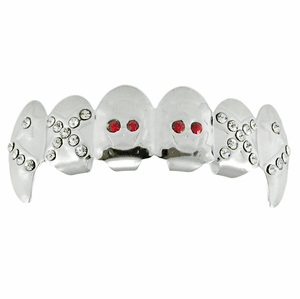 Silver Red Eyes Top Fang Grillz