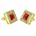 Faux Ruby Square 13MM Earrings