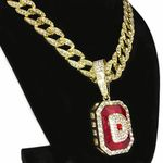 Faux Red Ruby D Letter Cuban Chain