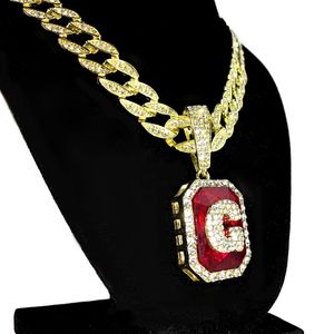 Faux Red Ruby G Letter Cuban Chain