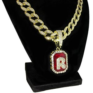 Faux Red Ruby R Letter Cuban Chain