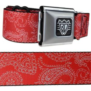 Red & White Paisley Buckle-Down Belt