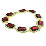 Faux Red Ruby Hip Hop Bracelet