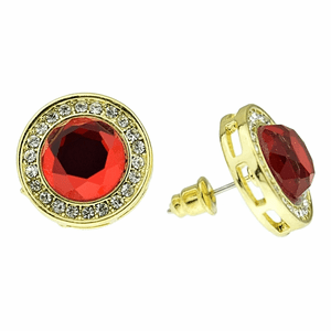 Faux Ruby Round 16MM Earrings