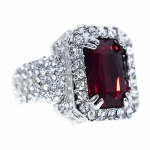 Faux Red Ruby Silver Iced-Out Ring