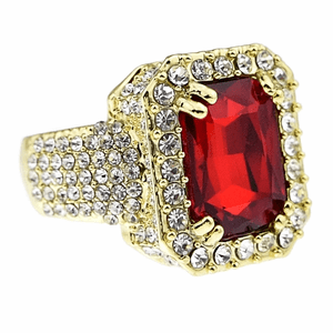 Faux Red Ruby Gold Iced-Out Ring