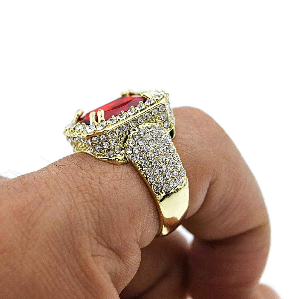 Faux Red Ruby Gold Iced Out Ring