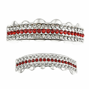 Silver Red Iced 3-Row Grillz Set
