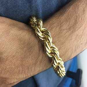 "Gold Plated Rope Bracelet 9""x14MM"