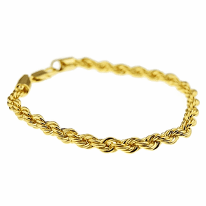 "Gold Rope Chain Bracelet 9"" x 6MM"