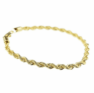 "Gold Rope Chain Bracelet 9"" x 4MM"