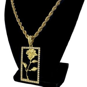Gold Rose Flower Rope Chain 20""