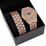 """Rose Gold """"Hour Marks"""" Watch Set"""