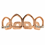 Rose Gold Top Grillz All 4 Open