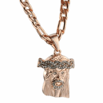 "Jesus Rose Gold 24"" Figaro Chain"