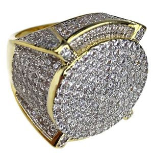 Huge Mens CZ Round 2-Tone Ring