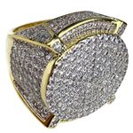 Huge Mens CZ Round 2-Tone Ring 22MM