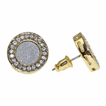 Round Glitter Gold Earrings 15MM