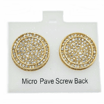 Round Gold Tone Hip Hop Earrings