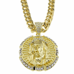 "Round Jesus Piece 30"" Cuban Chain"