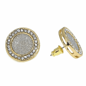 Round Glitter Gold Earrings 18MM