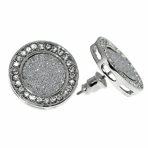Round Glitter 18MM Silver Earrings