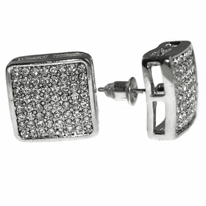 Rounded Square Silver Earrings