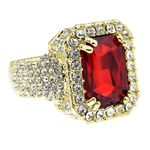 Faux Red Ruby Gold Hip Hop Ring