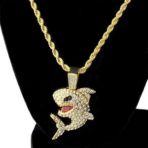 Gold Iced Shark Rope Chain 24""