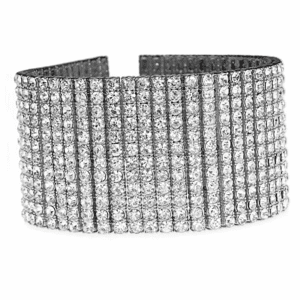 """Silver 12 Row Iced-Out  Bracelet 9.25"""""""