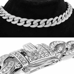"Silver 16"" x 13MM Iced Cuban Choker"