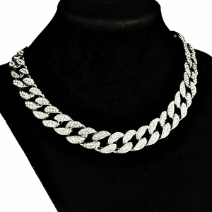 "Silver 16"" x 15MM Cuban Choker Chain"
