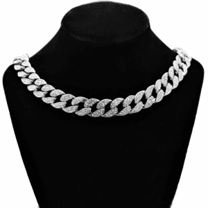 "Silver 18"" x 15MM Cuban Choker Chain"