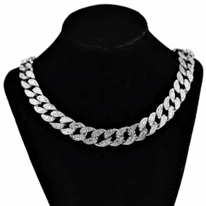 "Silver 20"" x 15MM Cuban Choker Chain"