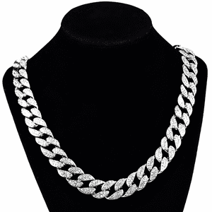 "Silver 24"" x 15MM Cuban Chain"