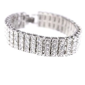 Silver Four Row Iced Bracelet 8""