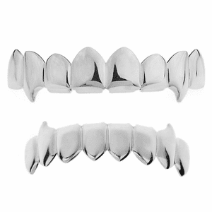 Silver 8/8 Fang Grillz Set